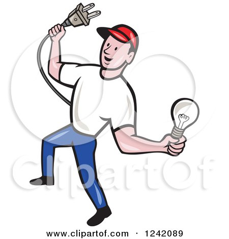 Clipart of a Happy Cartoon Male Electrician Holding a Plug and Lightbulb - Royalty Free Vector Illustration by patrimonio
