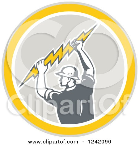 Clipart of a Retro Male Electrician Holding a Bolt in a Circle - Royalty Free Vector Illustration by patrimonio