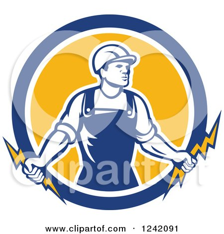 Clipart of a Retro Male Electrician Holding Bolts in a Circle - Royalty Free Vector Illustration by patrimonio