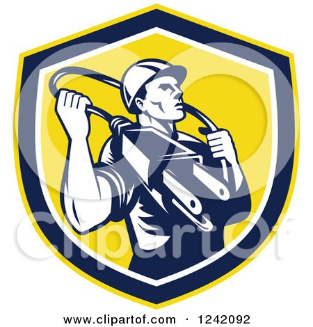Clipart of a Retro Male Electrician with a Plug Around His Neck in a Shield - Royalty Free Vector Illustration by patrimonio