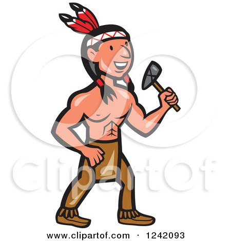 Clipart of a Cartoon Native American Indian Brave Holding a Tomahawk - Royalty Free Vector Illustration by patrimonio