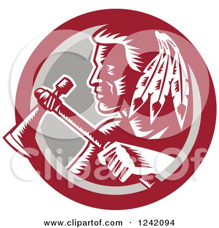 Clipart of a Retro Woodcut Native American Indian Brave Warrior with a Tomahawk in a Circle - Royalty Free Vector Illustration by patrimonio