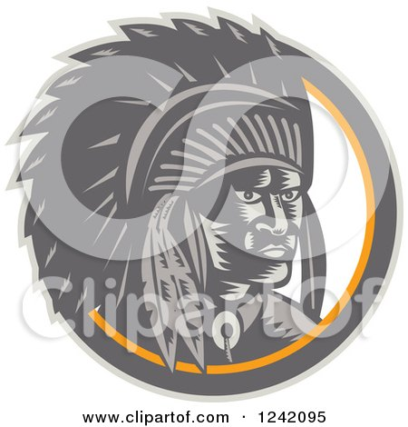 Clipart of a Retro Woodcut Native American Chief in a Circle - Royalty Free Vector Illustration by patrimonio