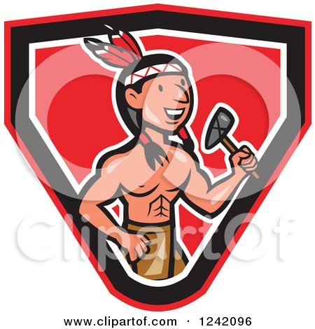 Clipart of a Cartoon Native American Indian Brave Holding a Tomahawk in a Shield - Royalty Free Vector Illustration by patrimonio
