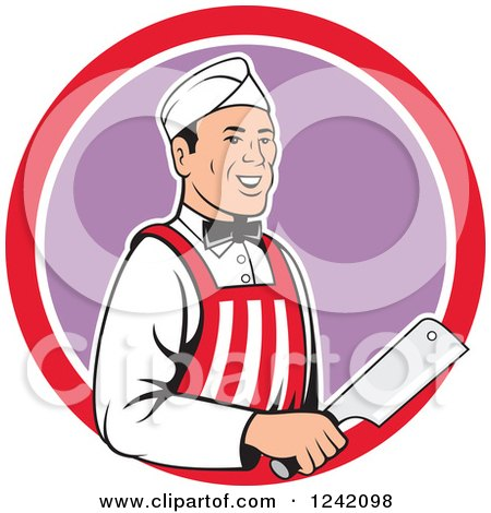 Clipart of a Retro Happy Butcher with a Knife in a Circle - Royalty Free Vector Illustration by patrimonio