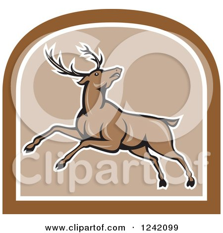 Clipart of a Cartoon Brown Buck Deer Leaping in a Shield - Royalty Free Vector Illustration by patrimonio