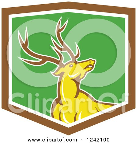 Clipart of a Cartoon Yellow Buck Deer in a Green and Brown Shield - Royalty Free Vector Illustration by patrimonio