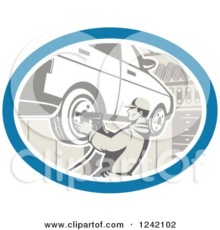 Clipart of a Retro Car Mechanic Working on Tires in a Garage - Royalty Free Vector Illustration by patrimonio