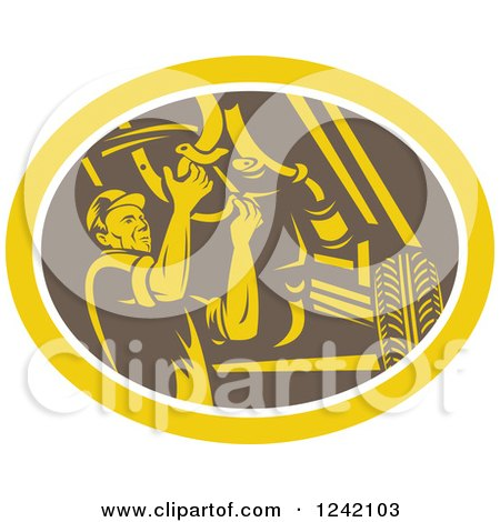 Clipart of a Retro Woodcut Car Mechanic Working Under the Chassis in an Oval - Royalty Free Vector Illustration by patrimonio