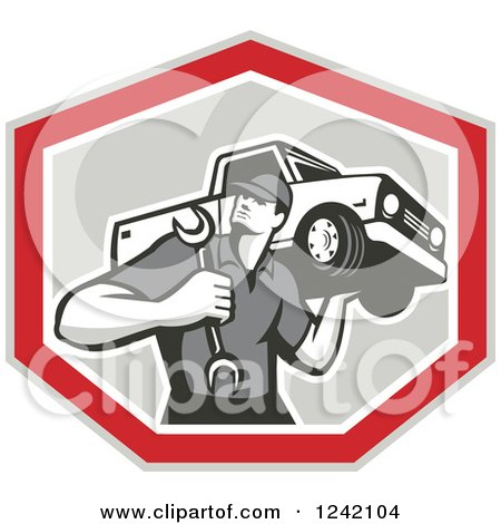 Clipart of a Retro Mechanic Carrying a Wrench and Pickup Truck in a Shield - Royalty Free Vector Illustration by patrimonio