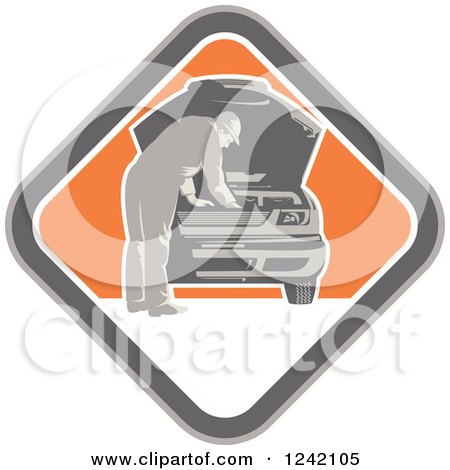 Clipart of a Retro Car Mechanic Working Under the Hood in a Diamond - Royalty Free Vector Illustration by patrimonio