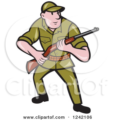 Clipart of a Cartoon Male Hunter with a Rifle - Royalty Free Vector Illustration by patrimonio
