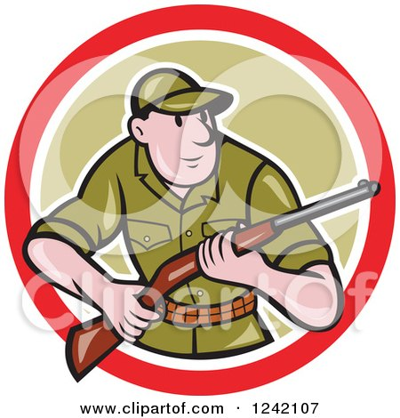 Clipart of a Cartoon Male Hunter with a Rifle in a Circle - Royalty Free Vector Illustration by patrimonio