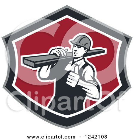 Clipart of a Retro Male Carpenter Carrying Lumber in a Shield - Royalty Free Vector Illustration by patrimonio