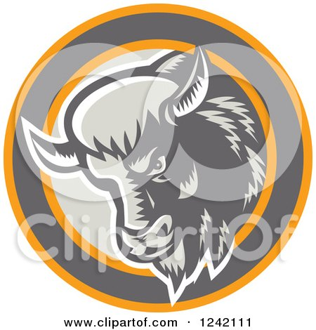 Clipart of a Retro Woodcut Buffalo Head in a Circle - Royalty Free Vector Illustration by patrimonio