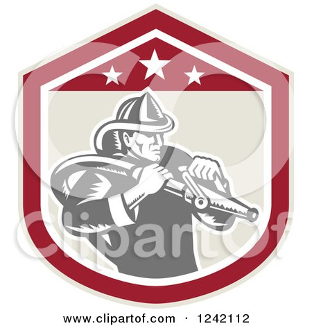 Clipart of a Retro Woodcut Fireman Wielding a Hose in a Shield - Royalty Free Vector Illustration by patrimonio