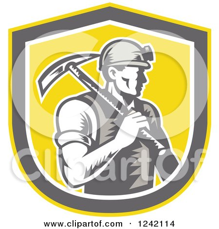 Clipart of a Retro Woodcut Male Miner Worker with a Pickaxe in a Yellow Shield - Royalty Free Vector Illustration by patrimonio