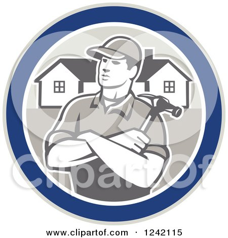 Clipart of a Retro Male Home Bulider in a Circle with Houses and a Hammer - Royalty Free Vector Illustration by patrimonio