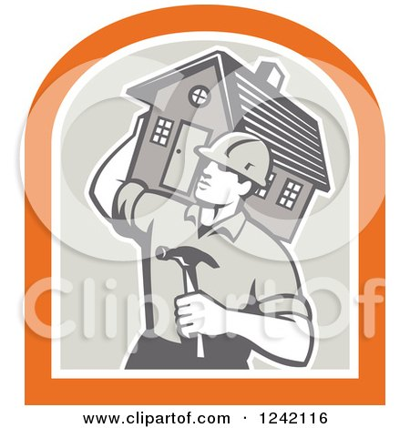 Retro Male Home Bulider Carrying a House and Hammer in a Crest Posters, Art Prints