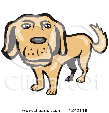 Clipart of a Happy Golden Retriever Dog - Royalty Free Vector Illustration by patrimonio