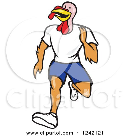 Clipart of a Running Turkey Bird - Royalty Free Vector Illustration by patrimonio