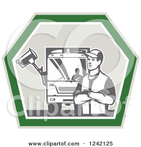 Clipart of a Retro Garbage Man and Truck in a Shield - Royalty Free Vector Illustration by patrimonio