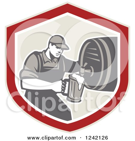 Clipart of a Retro Bartender Pouring a Beer from a Keg in a Shield - Royalty Free Vector Illustration by patrimonio