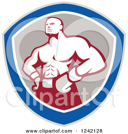 Clipart of a Retro Muscular Boxer Man in a Shield - Royalty Free Vector Illustration by patrimonio