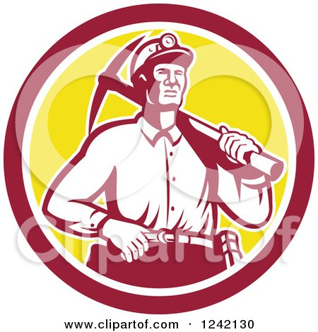 Clipart of a Retro Male Miner Worker with a Pickaxe in a Circle - Royalty Free Vector Illustration by patrimonio