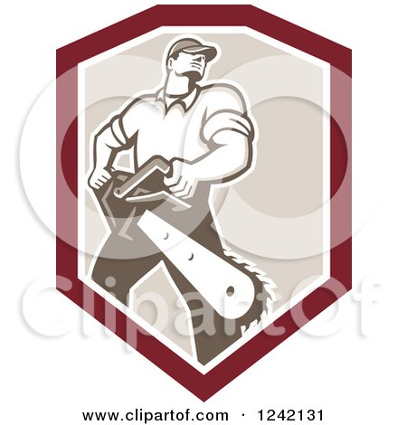 Clipart of a Retro Strong Male Arborist with a Chainsaw in a Shield - Royalty Free Vector Illustration by patrimonio