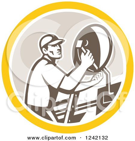 Clipart of a Retro Male Satellite Installer Adjusting a Dish in a Circle - Royalty Free Vector Illustration by patrimonio