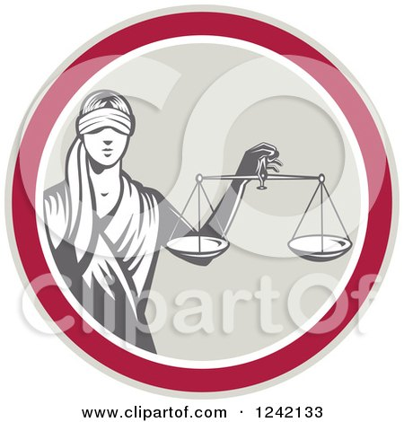 Retro Lady Justice with Scales in a Circle Posters, Art Prints