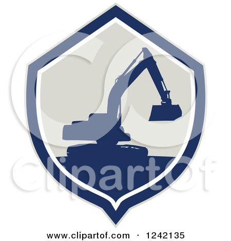 Clipart of a Silhouetted Excavator Machine in a Shield - Royalty Free Vector Illustration by patrimonio