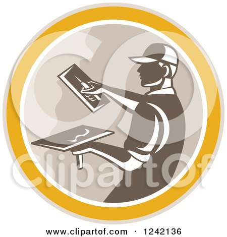 Clipart of a Retro Male Plasterer Working in a Circle - Royalty Free Vector Illustration by patrimonio