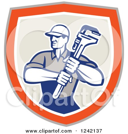 Retro Male Plumber Holding a Monkey Wrench in a Shield Posters, Art Prints