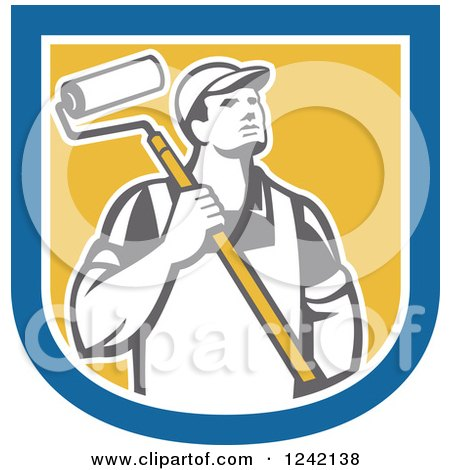 Retro Male House Painter with a Roller Brush in a Shield Posters, Art Prints