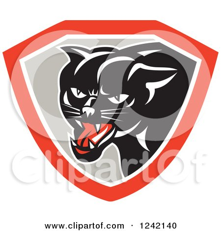 Clipart of a Black Panther in a Gray and Red Shield - Royalty Free Vector Illustration by patrimonio