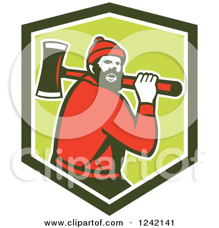 Retro Logger, Paul Bunyan, with an Axe in a Shield Posters, Art Prints