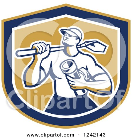 Retro Drainlayer Man Carrying a Shovel and Pipe in a Shield Posters, Art Prints