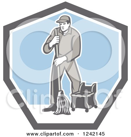Clipart of a Retro Male Custodian Janitor in a Shield - Royalty Free Vector Illustration by patrimonio