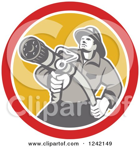 Clipart of a Retro Fireman Aiming a Hose in a Yellow and Red Circle - Royalty Free Vector Illustration by patrimonio
