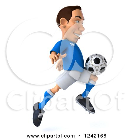 43d0d63253 Clipart of a 3d Italian Soccer Player Kicking 4 - Royalty Free Illustration  by Julos