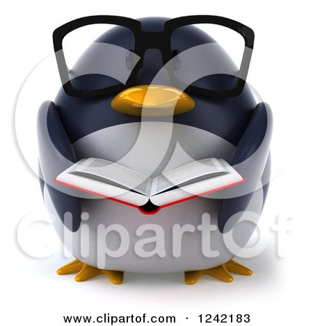 Clipart of a 3d Bespectacled Penguin Reading a Book 2 - Royalty Free Illustration by Julos