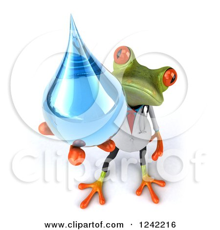 Clipart of a 3d Doctor Springer Frog Holding a Water Drop - Royalty Free Illustration by Julos