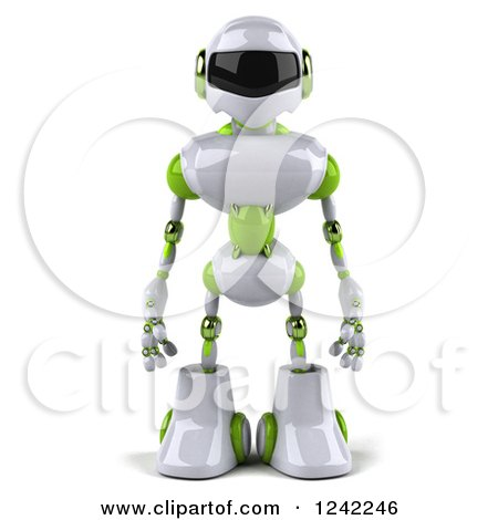 Clipart of a 3d White and Green Robot - Royalty Free Illustration by Julos