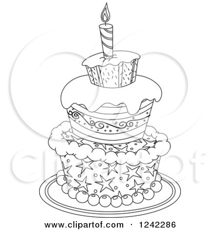 Clipart of a Black and White Patterned Birthday Cake - Royalty Free Vector Illustration by yayayoyo