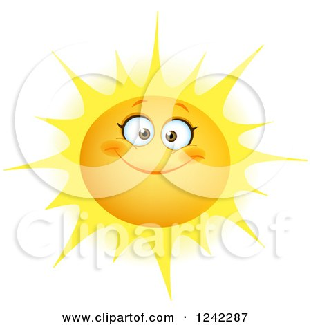 Clipart of a Happy Summer Sun with a Smile - Royalty Free Vector Illustration by yayayoyo