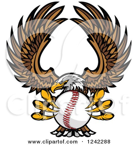 Clipart of a Fierce Bald Eagle Flying with a Baseball in Its Talons - Royalty Free Vector Illustration by Chromaco