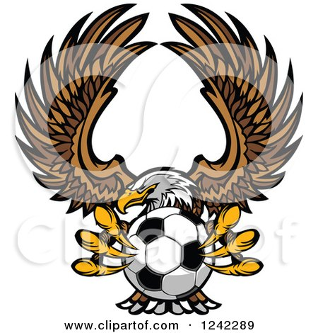 Clipart of a Fierce Bald Eagle Flying with a Soccer Ball in Its Talons - Royalty Free Vector Illustration by Chromaco