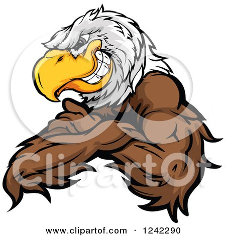 Clipart of a Fierce Bald Eagle Mascot Grinning with Folded Arms - Royalty Free Vector Illustration by Chromaco